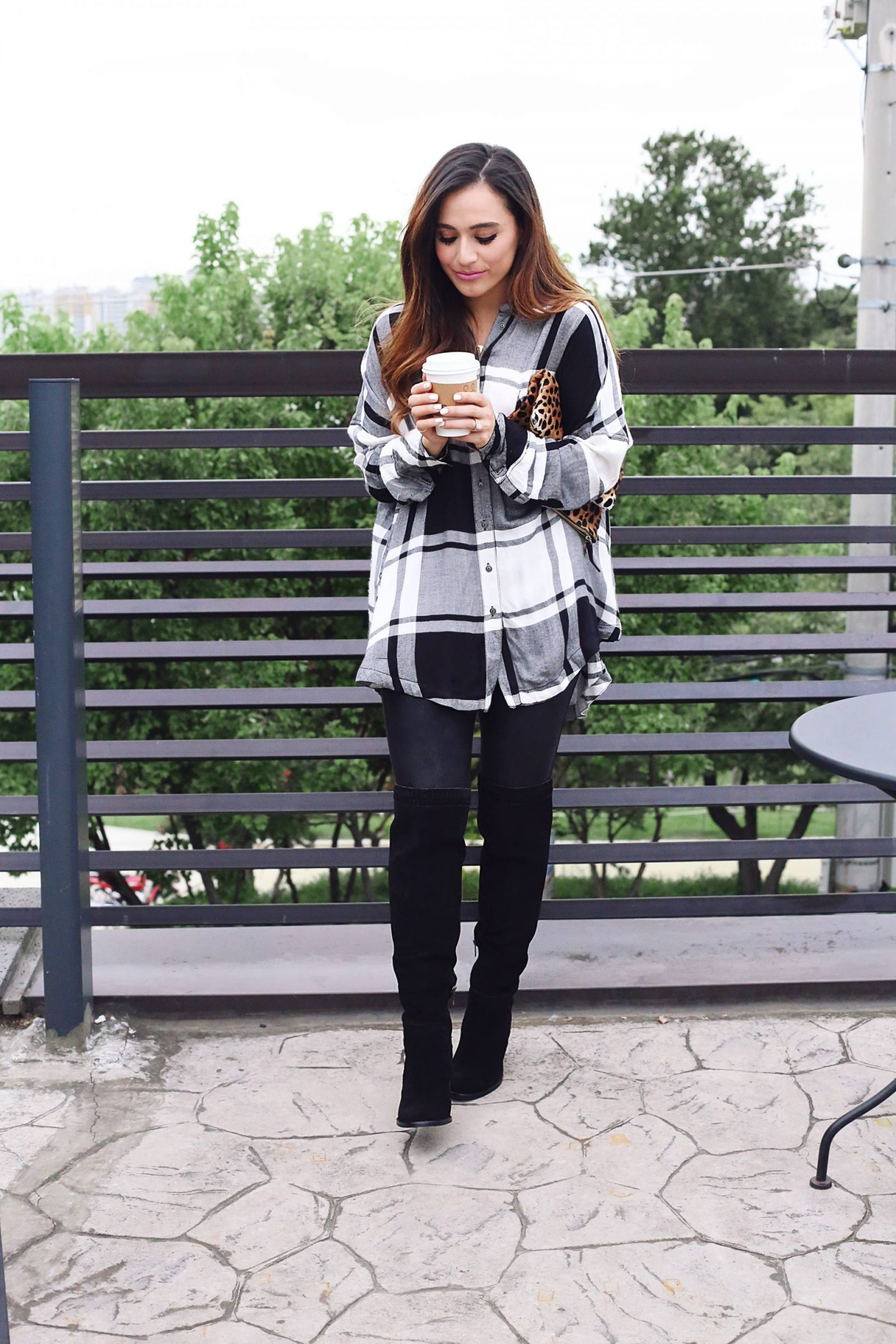 fall oversized plaid + over the knee boots