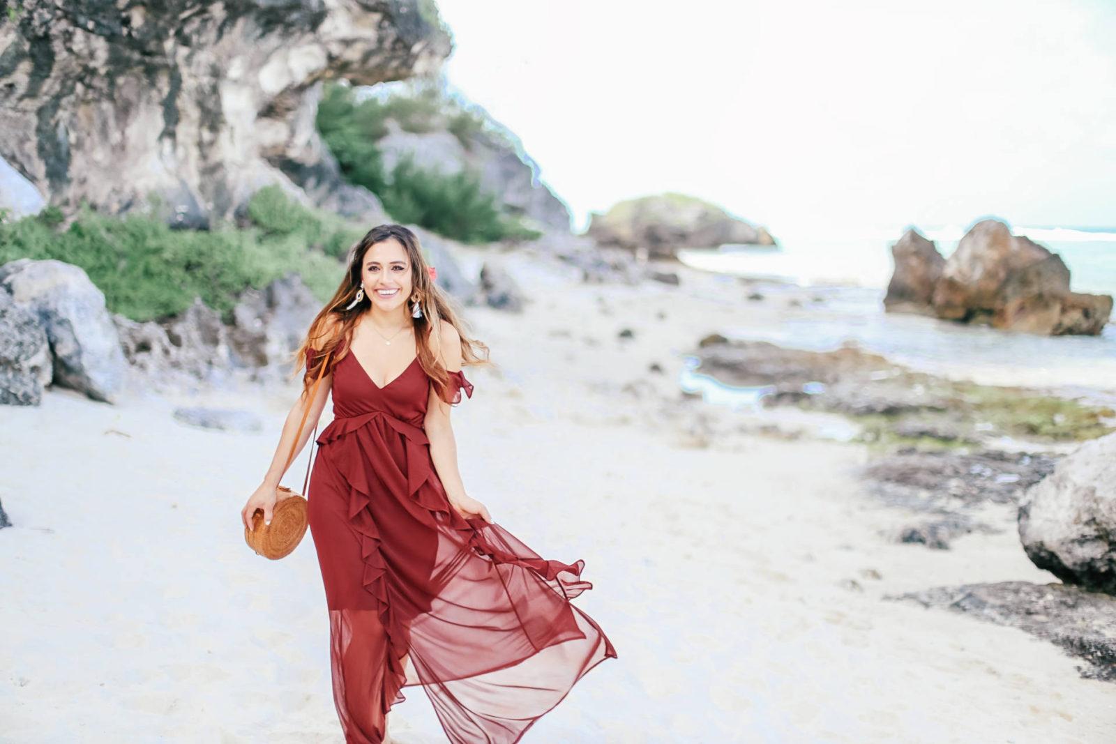 burgundy flowy dress | wedding guest approved