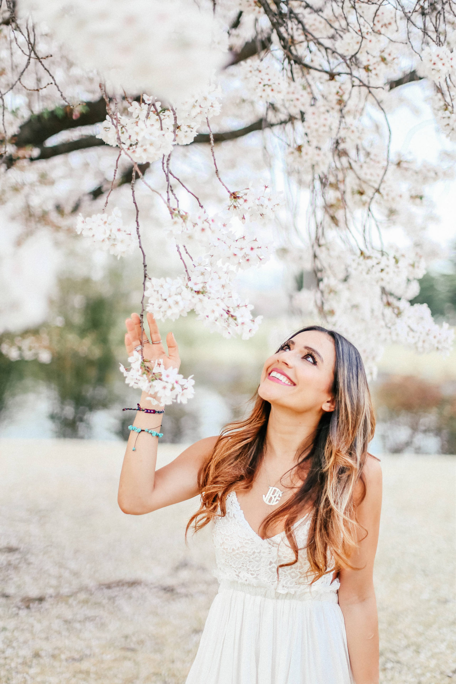 white spring maxi dress + cherry blossoms