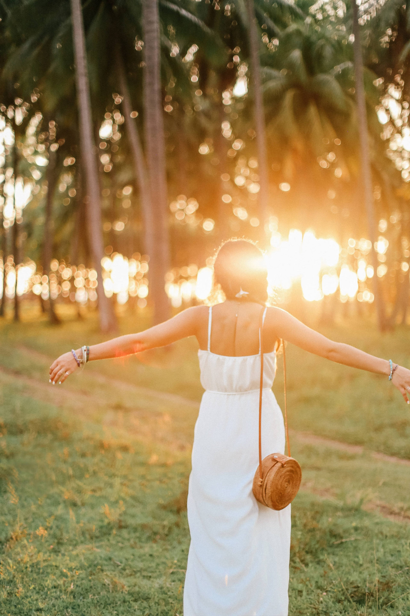 sunsets and the perfect white ruffle maxi dress