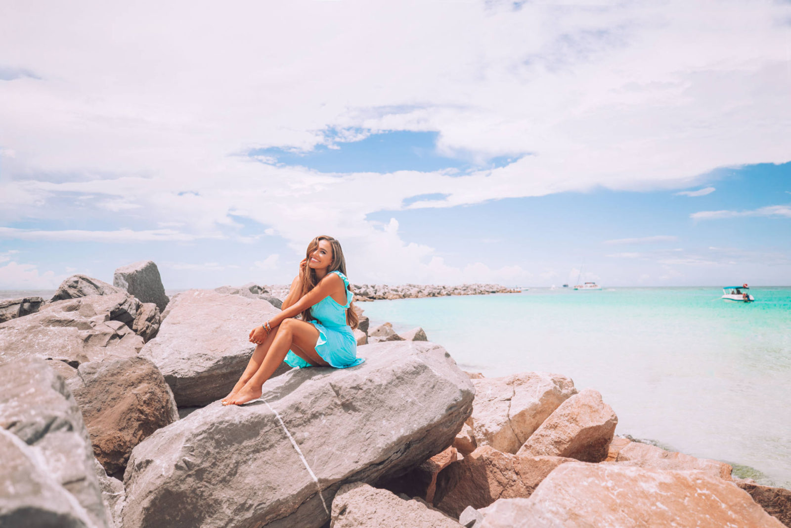 jasmine elias boswell, on the rocks at st andrews state park in panama city beach florida