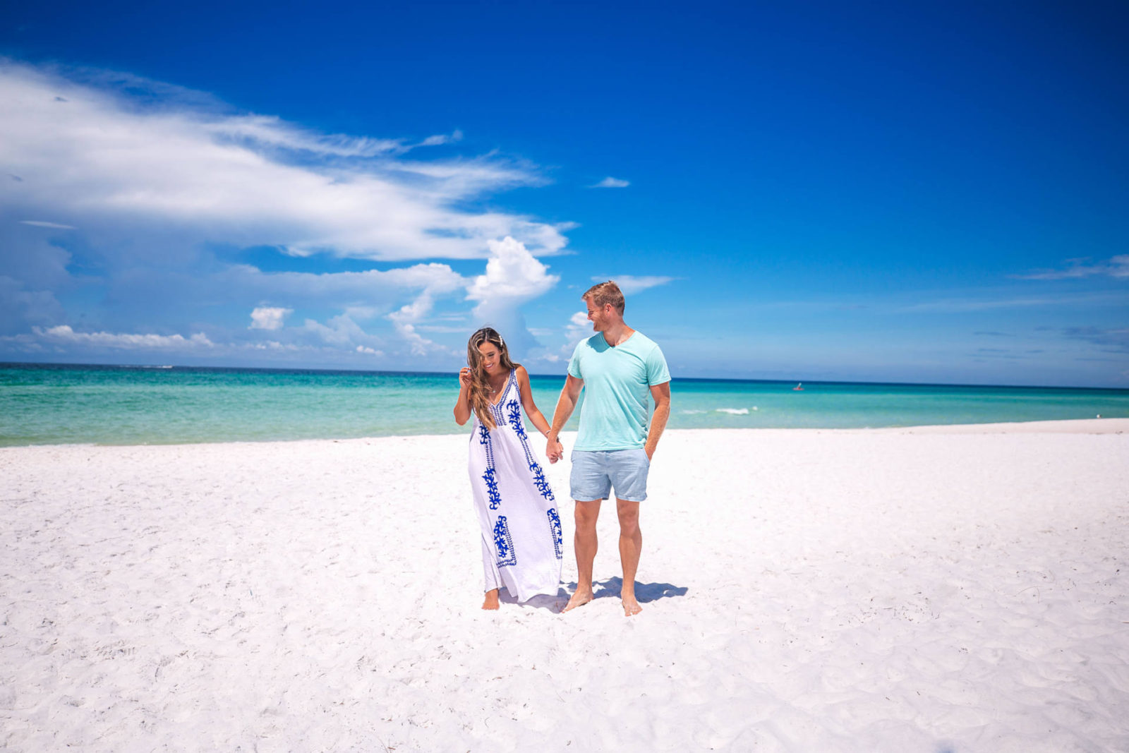 jasmine elias boswell and david boswell, husband and wife on the beach in panama city beach, florida