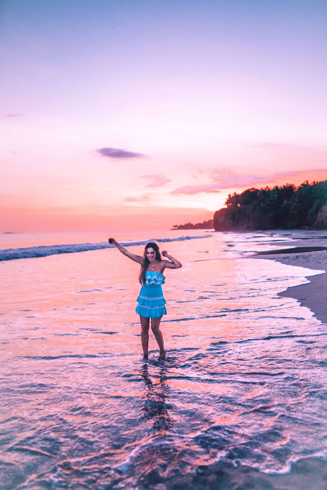 Jasmine Elias Boswell, Punta De Mita Mexico, at sunset, revolve blue mini dress