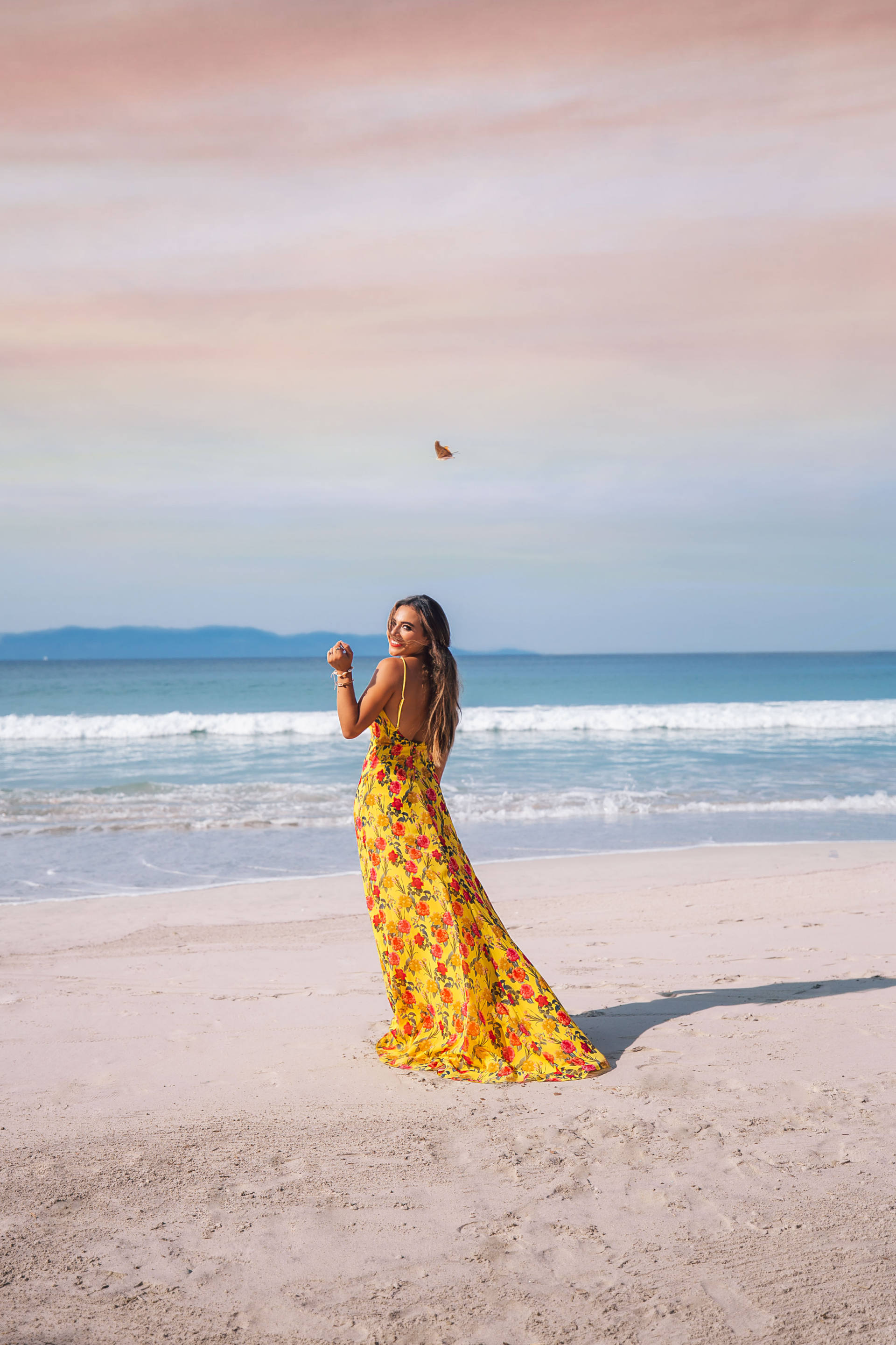 Jasmine Elias Boswell, Punta De Mita Mexico, yellow revolve lovers and friends dress and gown