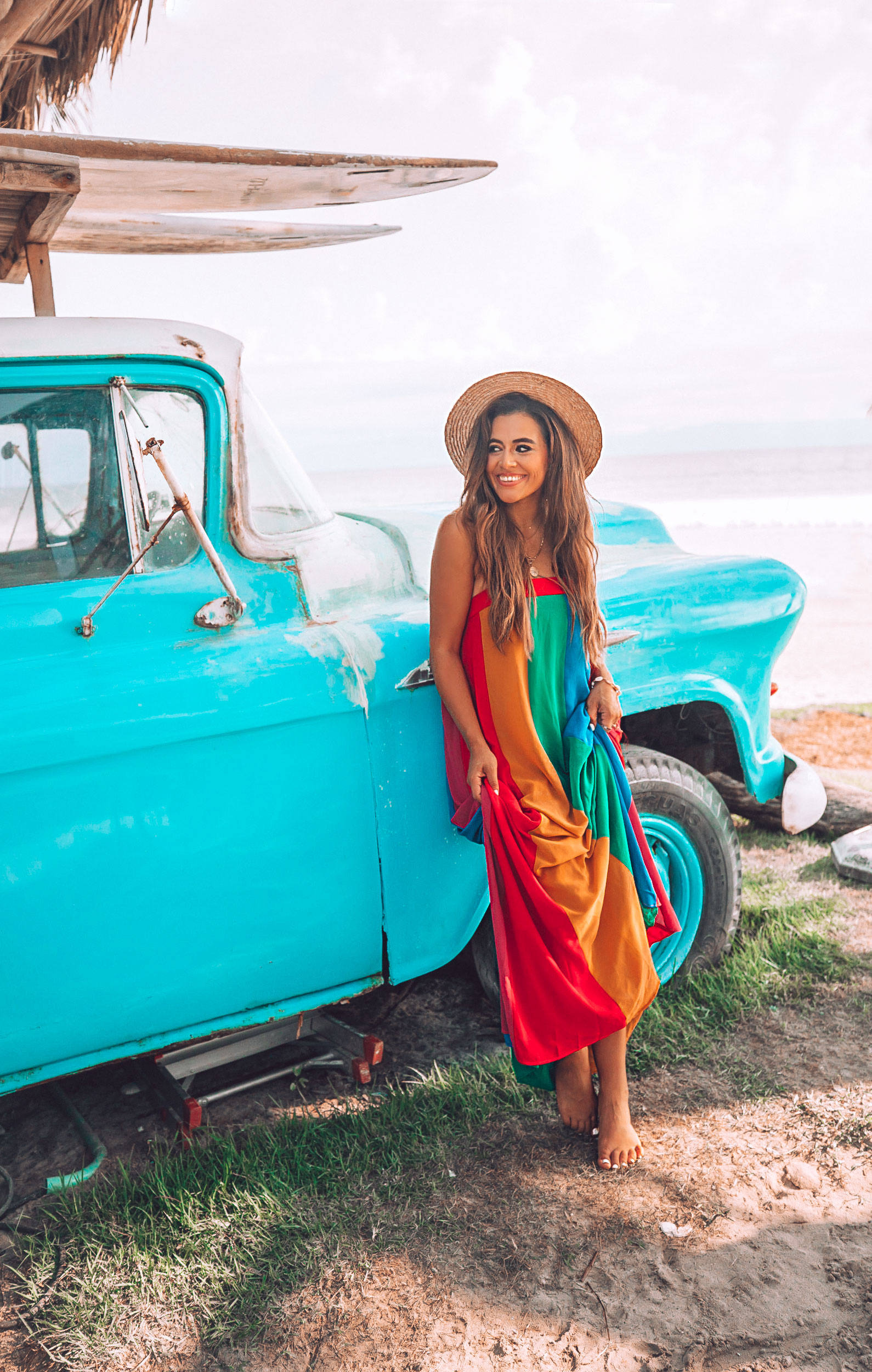 Jasmine Elias Boswell, Punta De Mita Mexico, show me your mumu rainbow dress