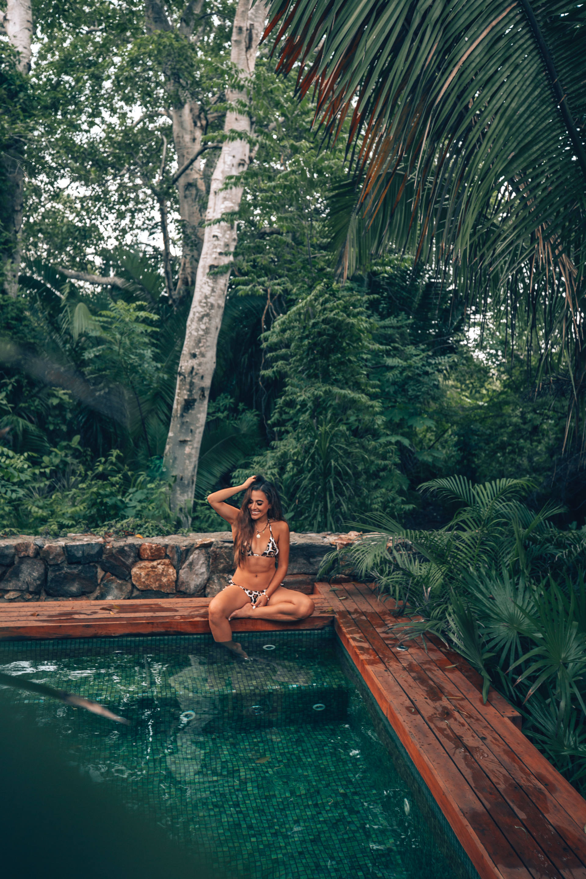 Jasmine Elias Boswell, Punta De Mita Mexico, leopard bikini in the jungle spa pools