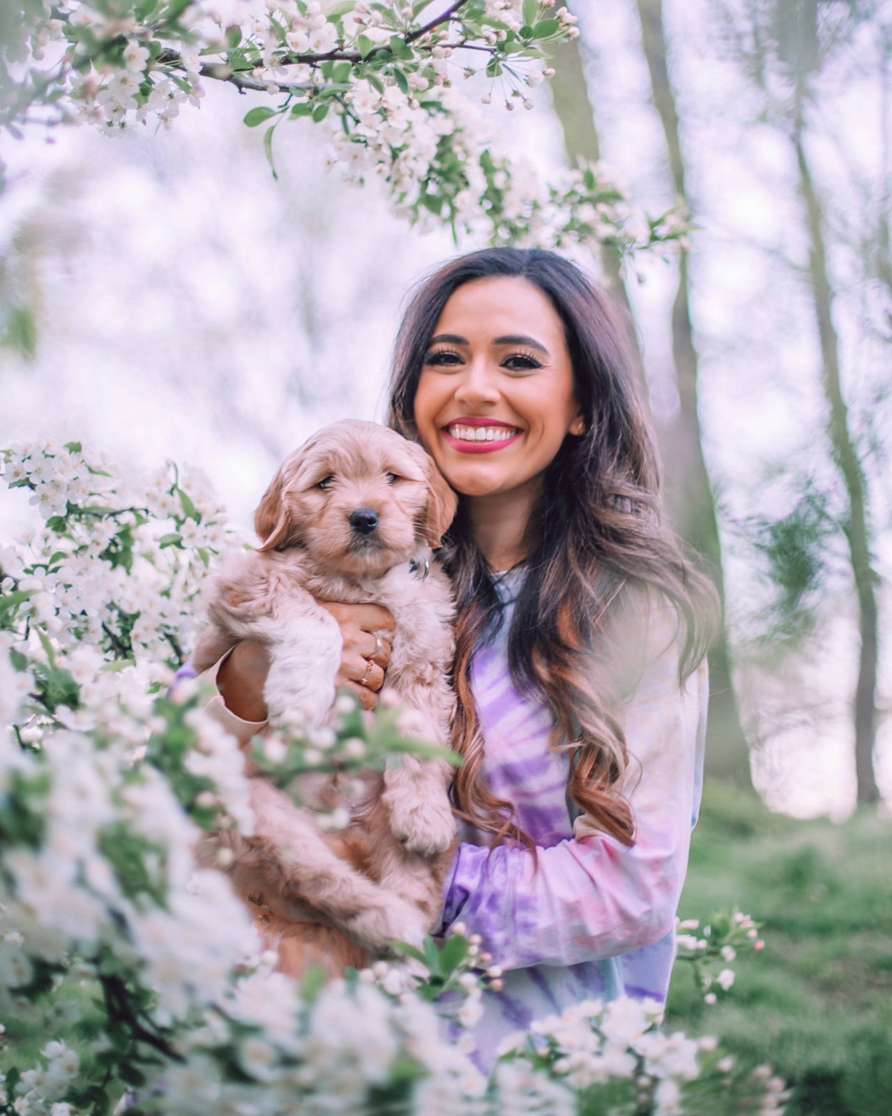 jasmine elias boswell and moose boswell, adorable golden doodle puppy, new york city central park  tips on how to prepare for a new dog